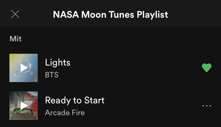 Lights und A Brand New Day sind auf der @NASA Moon Tunes Spotify Playlist!   Lights et A Brand New Day sont sur liste de lecture Spotify NASA Moon Tunes !   Lights e A Brand New Day sono sulla playlist di Spotify NASA Moon Tunes! @BTS_twt  :  https:// open.spotify.com/playlist/7y7hn yXo4wtBSfigri0vgg?si=xY1Qq9RXQP6NPAknHv6lEg  … <br>http://pic.twitter.com/3Qm0f852kC
