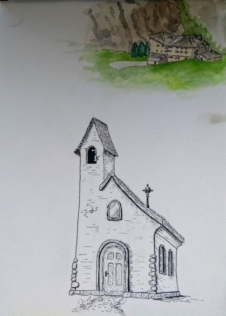 I am in South Tyrol and it is very pretty and I am enjoying it a lot! Here is a watercolour painting and a drawing from my sketchbook, one of a distant hotel and the other of a tiny chapel.