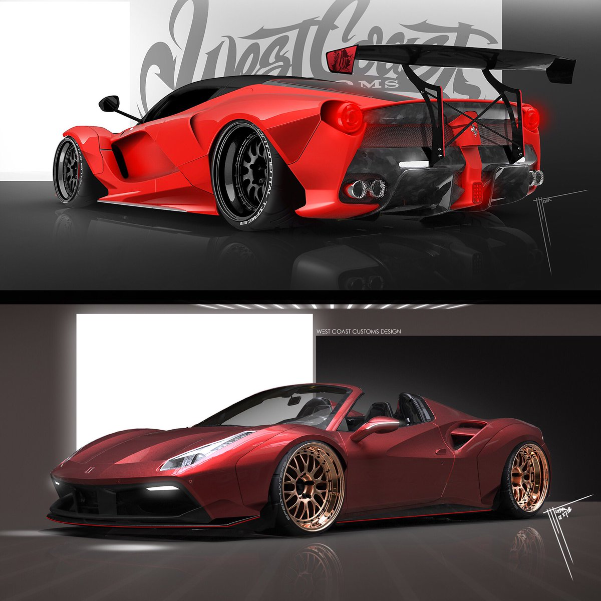 West Coast Customs в Twitter Top Or Bottom Top Laferrari Bottom Ferrari 488 Gtb West Coast Customs Design Which One Would You Want To See Come To Life Laferrari Ferrari Westcoastcustoms Https T Co Uckmnhe1bz