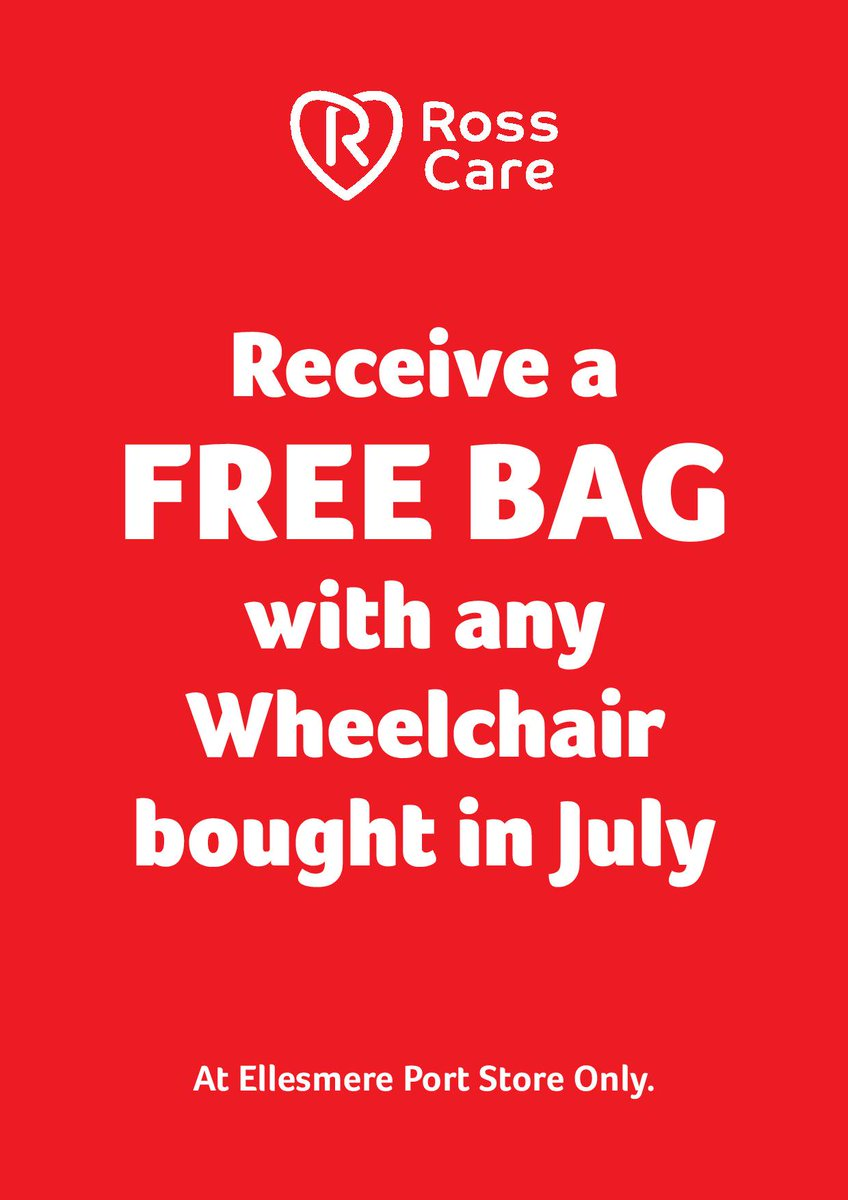 Hey @chesterhour!   Get a #free bag with any #wheelchair purchase   Ross Care are your #mobility equipment supplier in #EllesmerePort   Call - 0151 355 9919