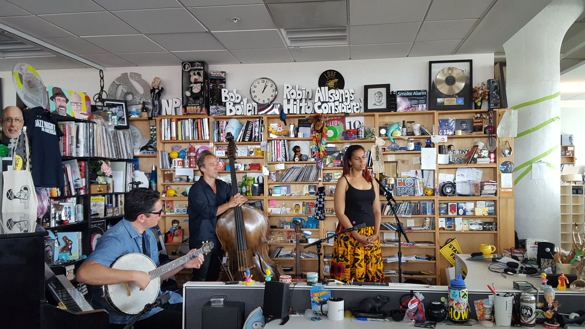 Blessed by @RhiannonGiddens as she and @fraturrisi @jasonsypher came to lay it all down for us at the #tinydesk today. I may have been crying. Thank you all for coming to my office today.