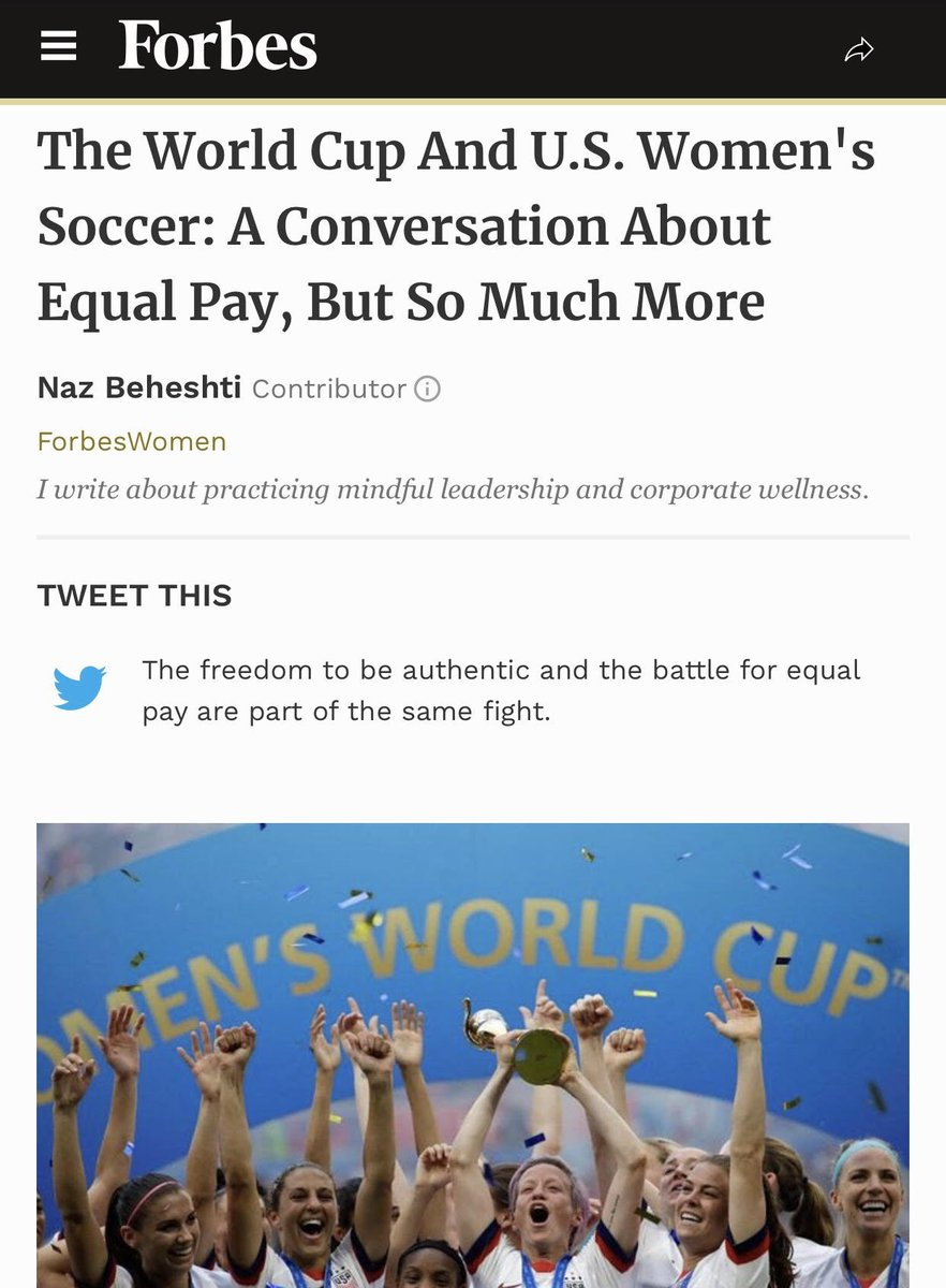 """The World Cup And U.S. Women's Soccer: A Conversation About Equal Pay, But So Much More . """"The freedom to be authentic and the battle for equal pay are part of the same fight."""" Link to article: https://1l.ink/WTMR2QH . . . . #equalpay #womensoccer #forbes #vizardpr"""