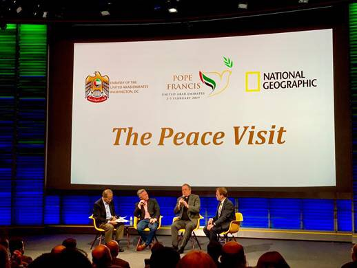 """Marking the #YearOfTolerance in UAE, the UAE Embassy in #WashingtonDC and @NatGeo hosted a screening and discussion of """"The Peace Visit,"""" @NatGeo's new documentary on @Pontifex's historic visit to the UAE earlier this year. #PopeFrancisinUAE <br>http://pic.twitter.com/jc35FNJDAX"""