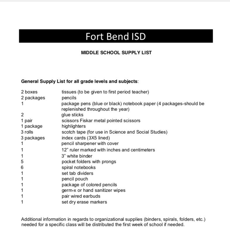 Fbisd School Supply List 6th Grade - School Style