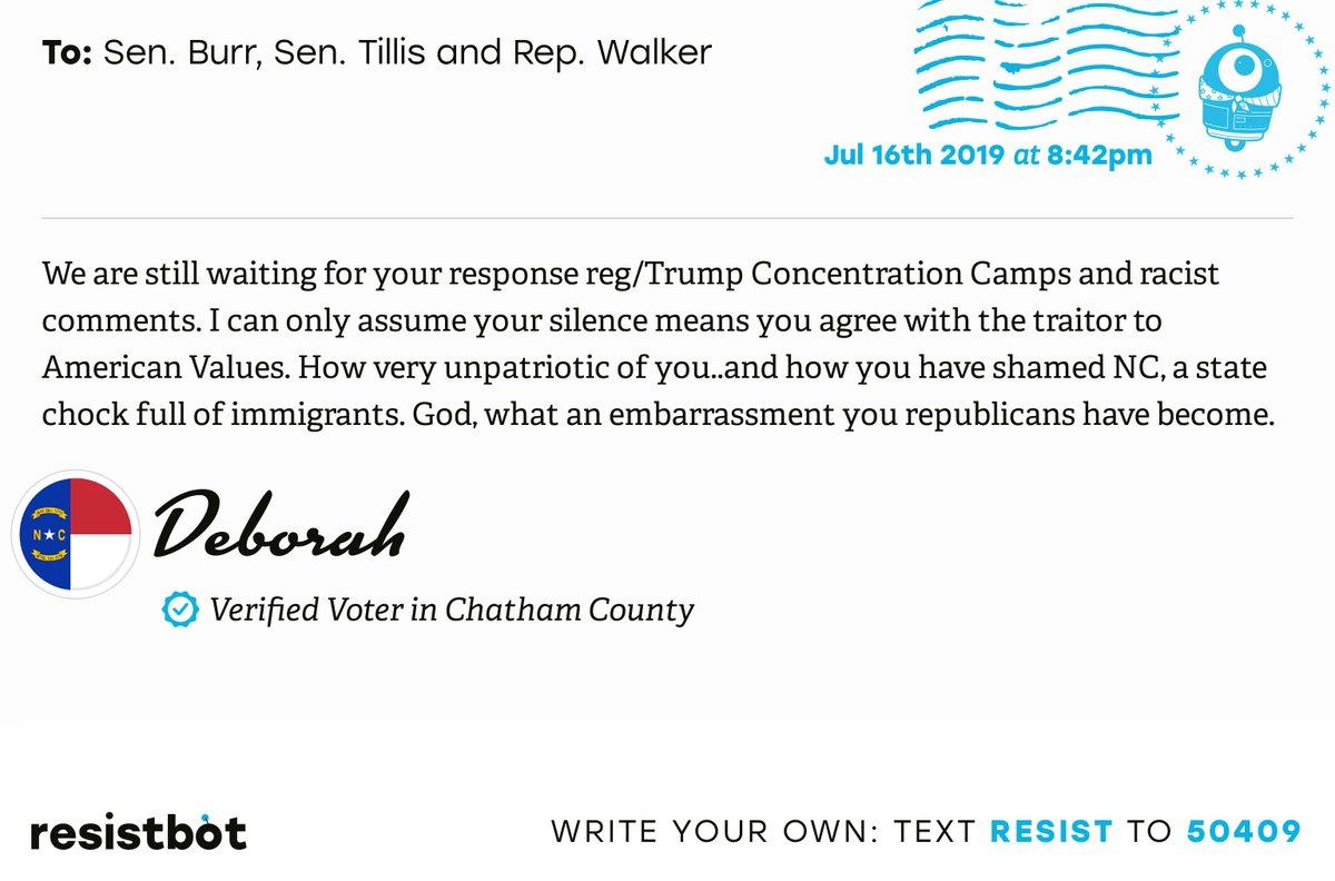 I just delivered this letter from Deborah in Sanford, N.C. to @SenatorBurr, @senthomtillis and @RepMarkWalker #NCpols #NCpolitics #ConcentrationCamps