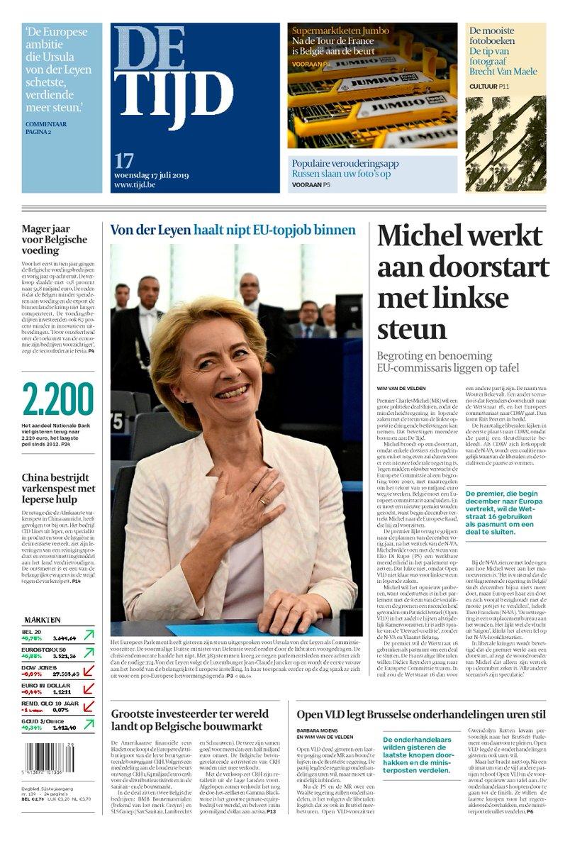 test Twitter Media - Vandaag op de voorpagina van De Tijd:  Michel werkt aan doorstart met linkse steun | Von der Leyen haalt nipt EU-topjob binnen  Lees de krant op uw smartphone of tablet: https://t.co/x779tlHDcC https://t.co/XpclUKhLoj