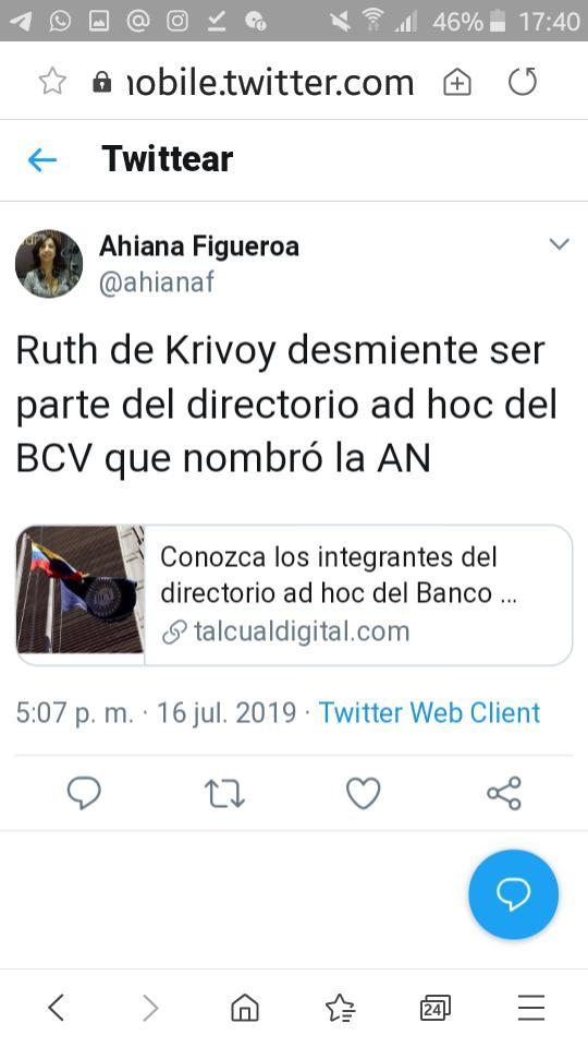 Periodistas de fuente económica desmienten que la economista Ruth de Krivoy haya aceptado ser parte del directorio ad hoc de Guaidó en el Banco Central de Venezuela. ¿Sería que no le preguntaron para designarla? ¡Qué pena con esa señora!