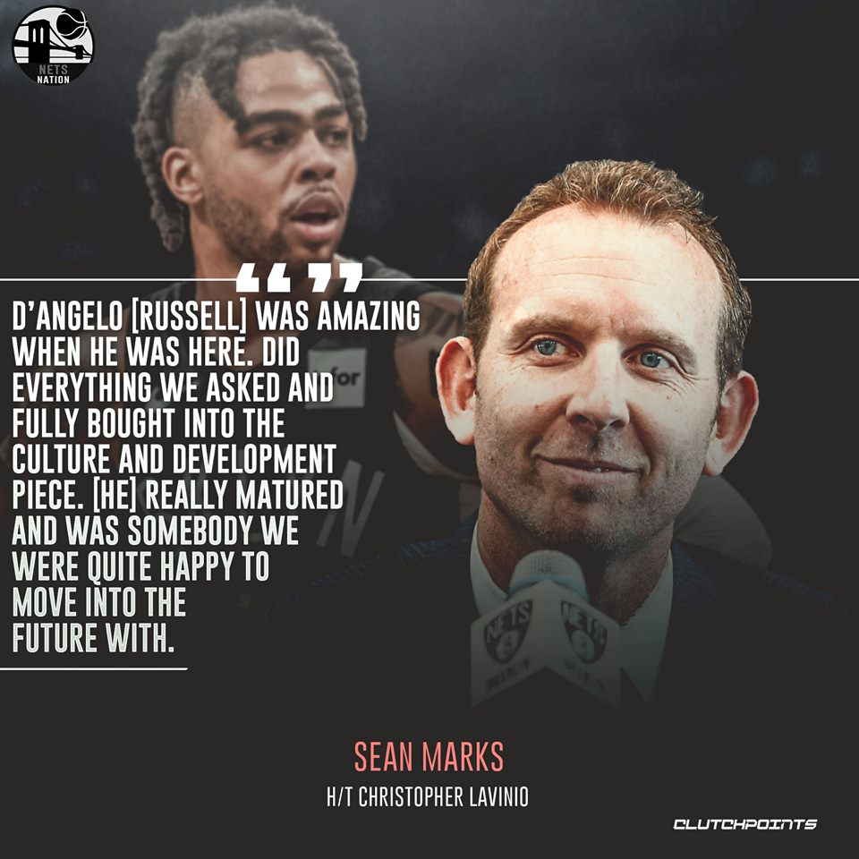 Sean Marks is grateful for everything D'Angelo Russell brought to the #Nets.   #WeGoHard