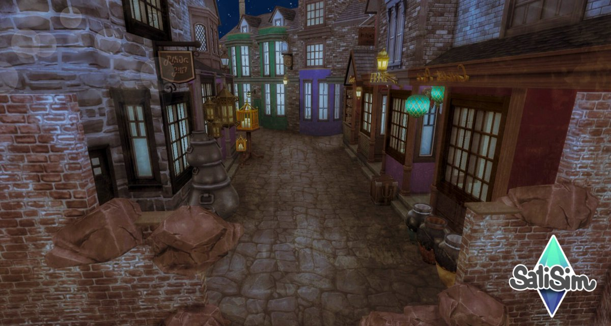 It's getting cozy in #DiagonAlley  (Had a little fun with filters, sorry not sorry) Building this makes me even more exited for Realm of magic in fall  #harrypotter #pottermore #sims4  #thesims4  #ts4 #diesims4 #sims4 <br>http://pic.twitter.com/OfJaMrzNnb