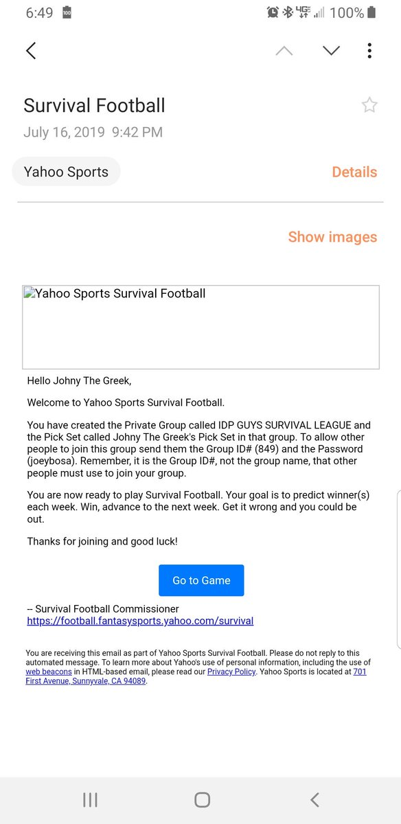 Join our @IDPGuys survival pick em league for this upcoming season!!! Free to play and winner will be announced on the podcast. Yahoo league ID: 849 Password: joeybosa