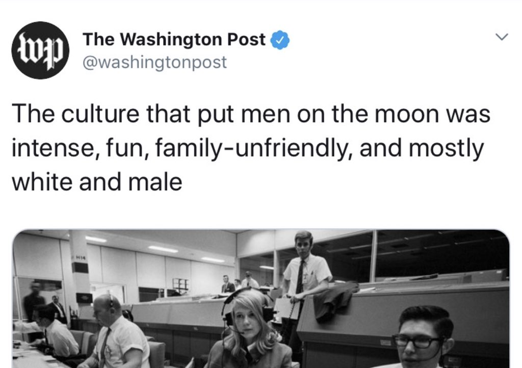 Apparently the WAPO thinks that landing on the Moon was clearly racist. And to make matters worse we planted the *GASP!* racist American flag on the surface! 🙄