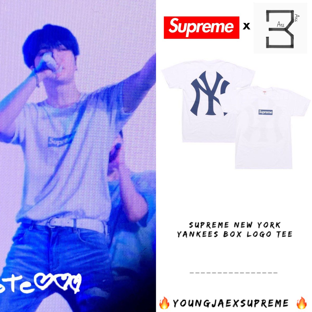 KEEP SPINNING IN SANTIAGO [190716] Boy : @GOTYJ_Ars_Vita   #YoungjaexSupreme  Supreme New York Yankees Box Logo Tee White $44.00 Approx THB1,360 Credit:Twitter @solenote917 + #Supremeboy #Youngjae  #ความยองแจ #영재<br>http://pic.twitter.com/Ilud81wFfW