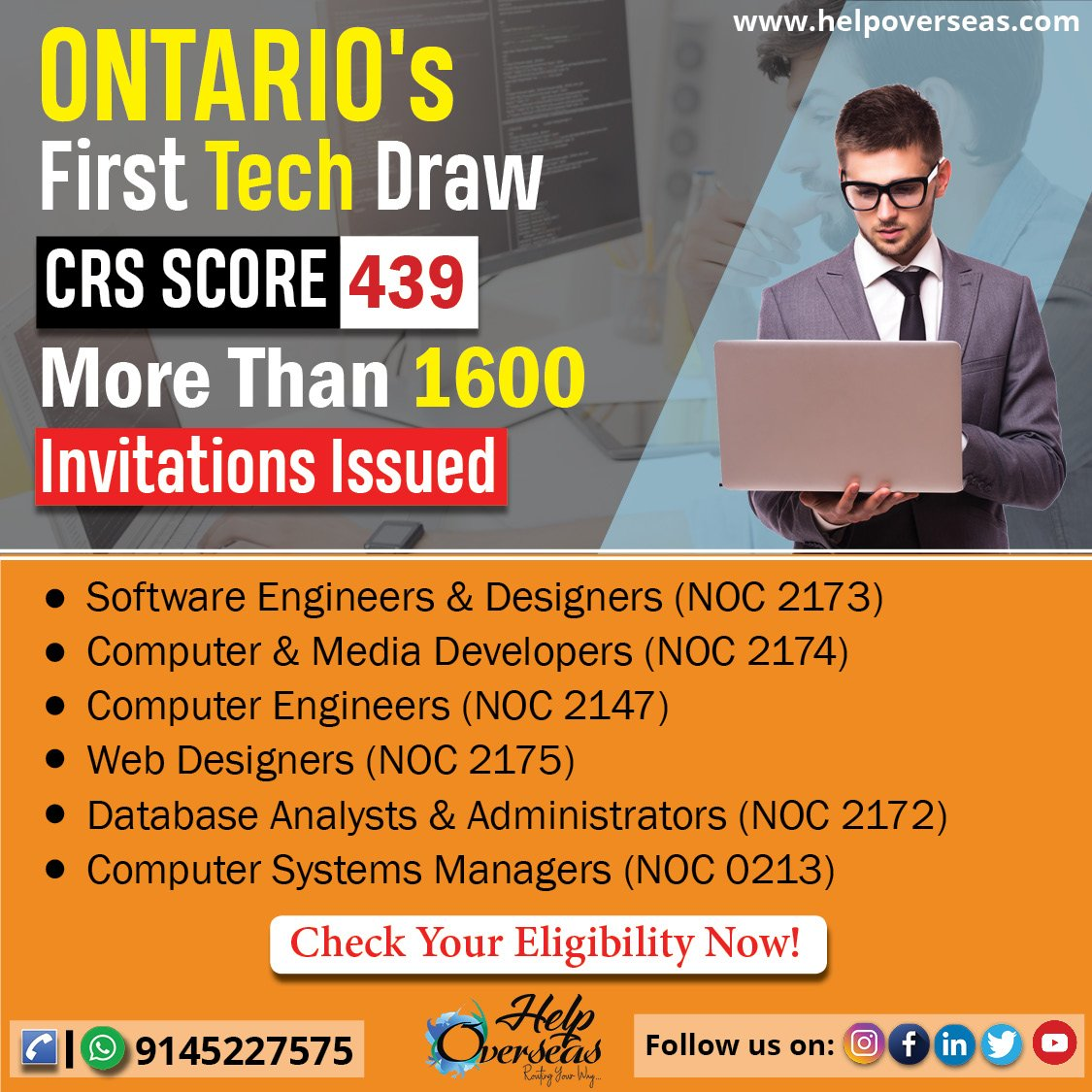 Helpoverseas On Twitter Ontario S Recent Draw At Crs Score 439 Invited More Than 1600 Candidates Check The 6 Occupations In Demand To Settle In Canada Canada Ontario Skilledworkers Techprofessions Itjobsincanada Cicnews Helpoverseas