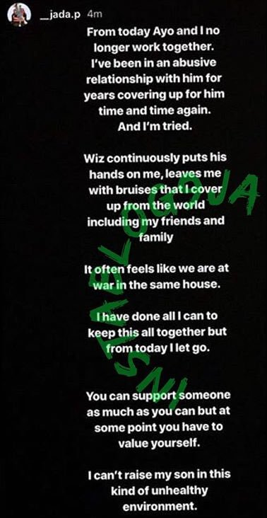 BREAKING NEWS!!!!!   Wizkid's third baby mama and former manager Jada Pallock cuts ties with #Wizkid and accuses the popular Afrobeats star of domestic violence  <br>http://pic.twitter.com/9uBagQyHRf