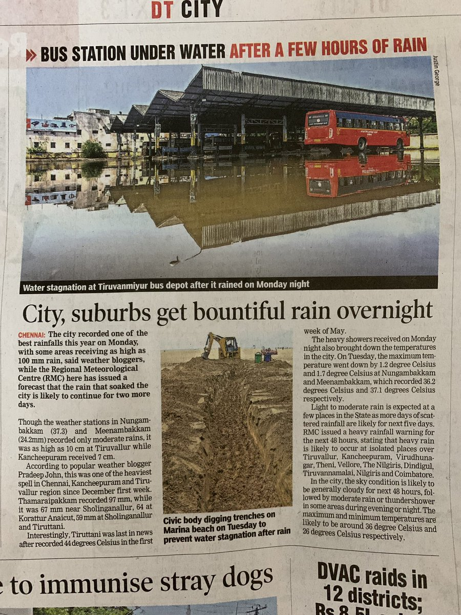 Water body restored once a water body converted in to bus terminus in Thiruvanmyur has become a water body again after yesterday's rain. Thanks to our road contractors who keep increasing road height for money flouting all norms. Dravidian classic https://t.co/G6d1TdmmlF