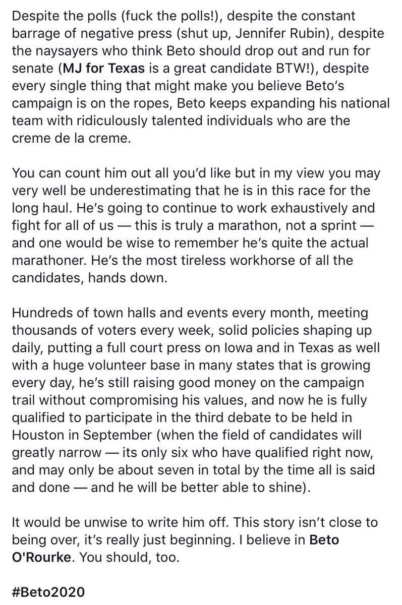 A few words I've written about @BetoORourke and shared on that other major social media site this evening: <br>http://pic.twitter.com/xWloogNGHm