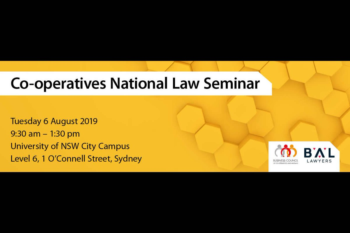 Starting a co-op? Register for our 6 August seminar where @BALLawyers team up with Melina Morrison of @BCCM_au to talk everything #coops - fundamentals, #governance, #fundraising and #compliance. https://bccm.coop/project/co-operatives-national-law-seminar-3cpd-points/…