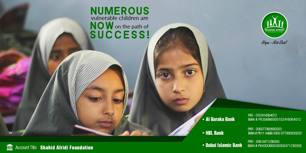 "SAF has held hands of many deprived children to help guide them towards a thriving future with education. #SAFcares for every child and wants to ensure prosperity among them with the vision of-   ""تعلیم ہو گی عام، ہر بیٹی کے نام""  It's #HopeNotOut for an educated tomorrow.  #SAF"