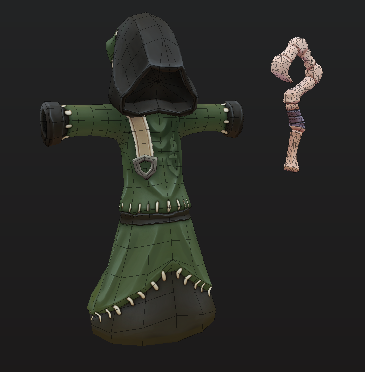 Our first post on here was the Necromancer. After months of putting him off and a super quick speed sculpt / texture, he's finally done! #CoffinRot #BrewingCo #IndieGameDev #indiedev #gamedev #character #lowpoly #stylized #handpainted #necromancer #pirates #skelly