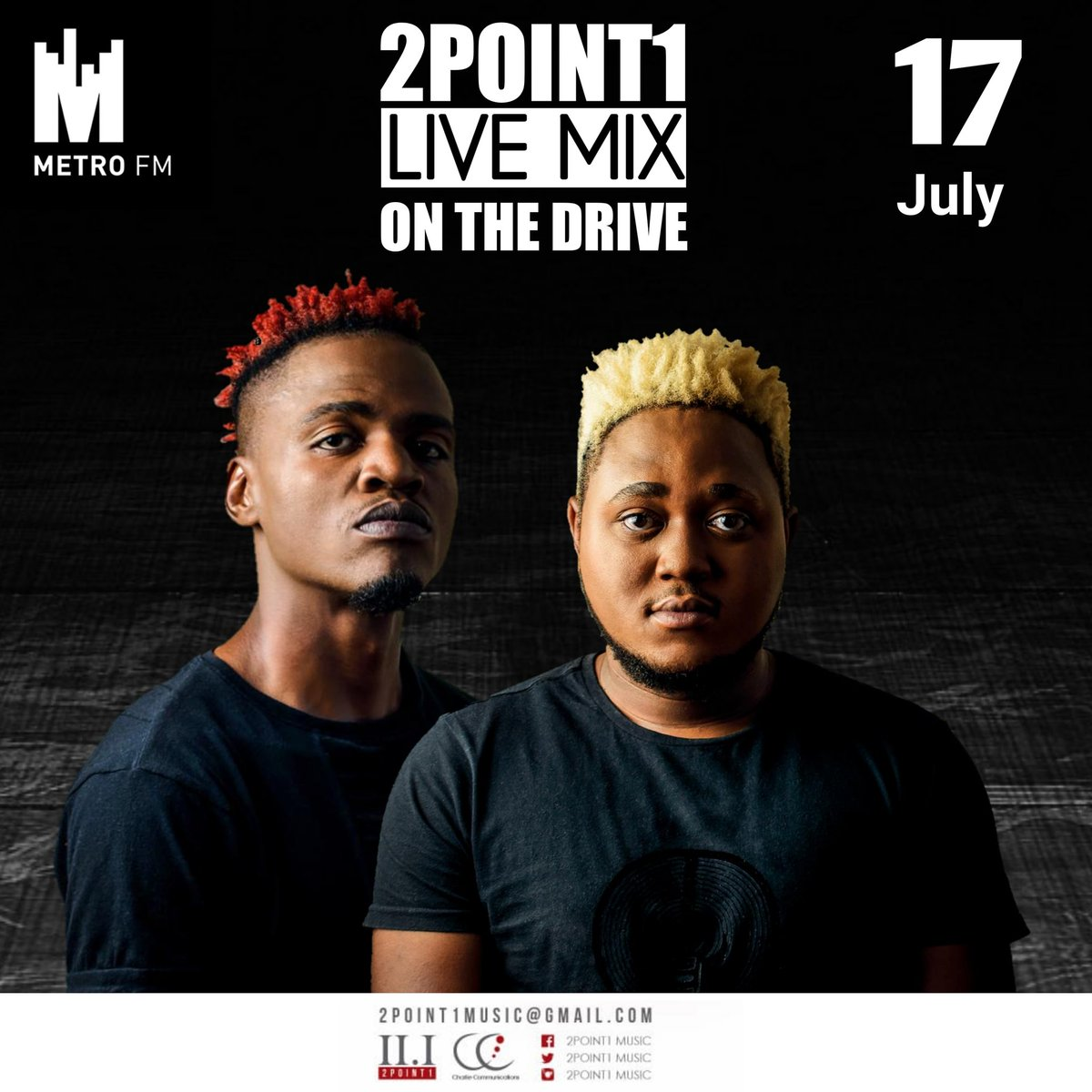 Tell your friends to tell their friends that #2point1 Is on @METROFMSA #OnTheDrive with @moflavadj do tune in for a live Mix   #BathoBana #Available on digital Store @CharlieComms_ ❤️🇿🇦