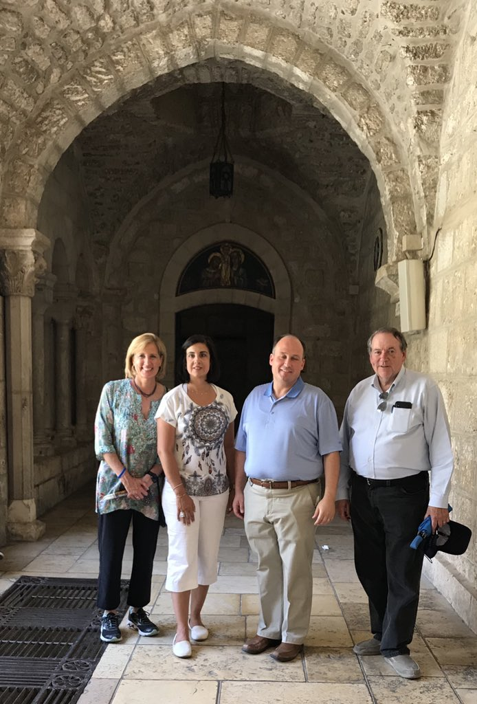 Blessed to visit the birthplace of Jesus Christ in Bethlehem with @GovMikeHuckabee. The three parts of the Church of the Nativity built upon the Holy site are each owned by three church authorities: Greek Orthodox, Armenian Apostolic and Roman Catholic.