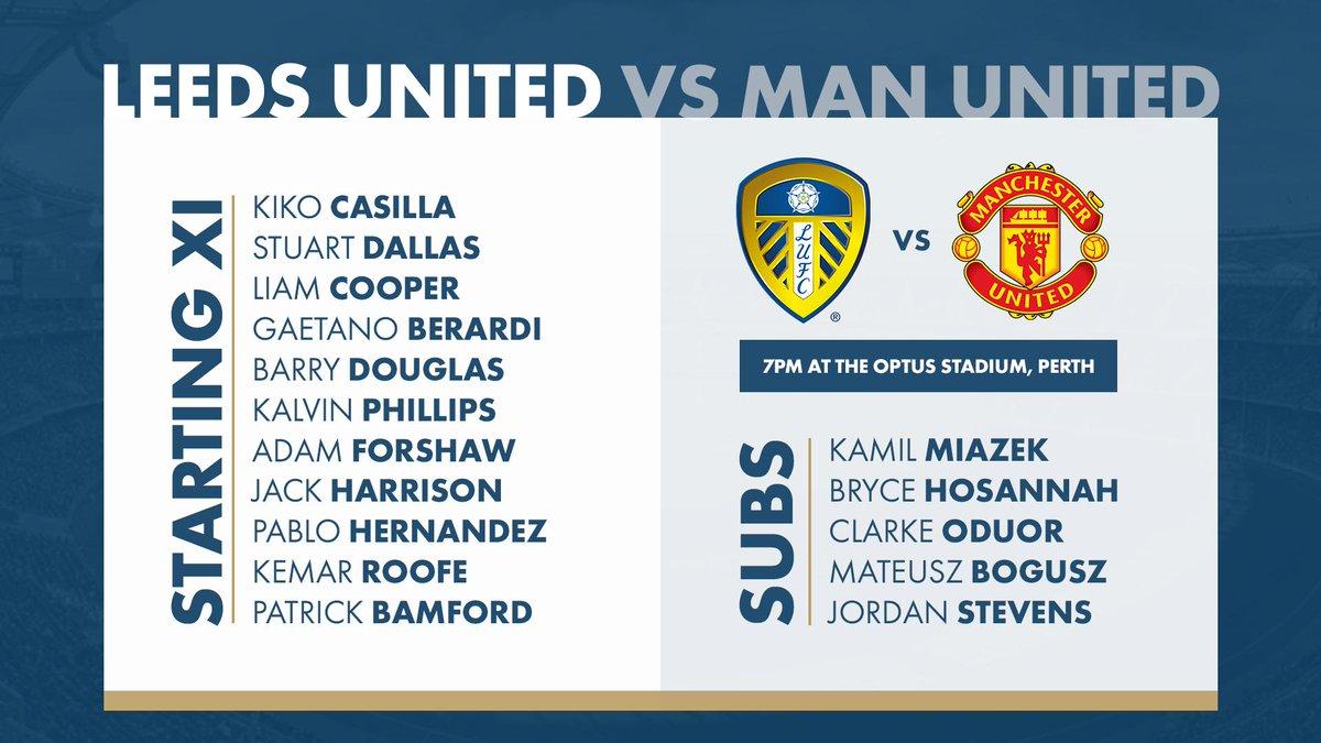 📋 | #LUFC Starting XI to face Manchester United:  Casilla, Douglas, Cooper, Berardi, Dallas, Phillips, Forshaw, Harrison, Hernandez, Roofe, Bamford