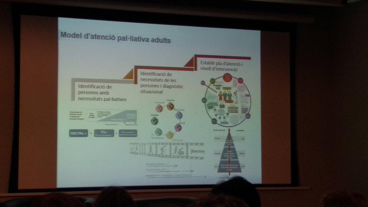 Cuál es el modelo de #CuidadosPaliativos de adultos en Catalunya? 1)Utilizar #NECPAL  cómo herramienta de identificación, 2) #dxsituacional de la persona,3) modelo de atención con la #PDA cómo aspecto clave
