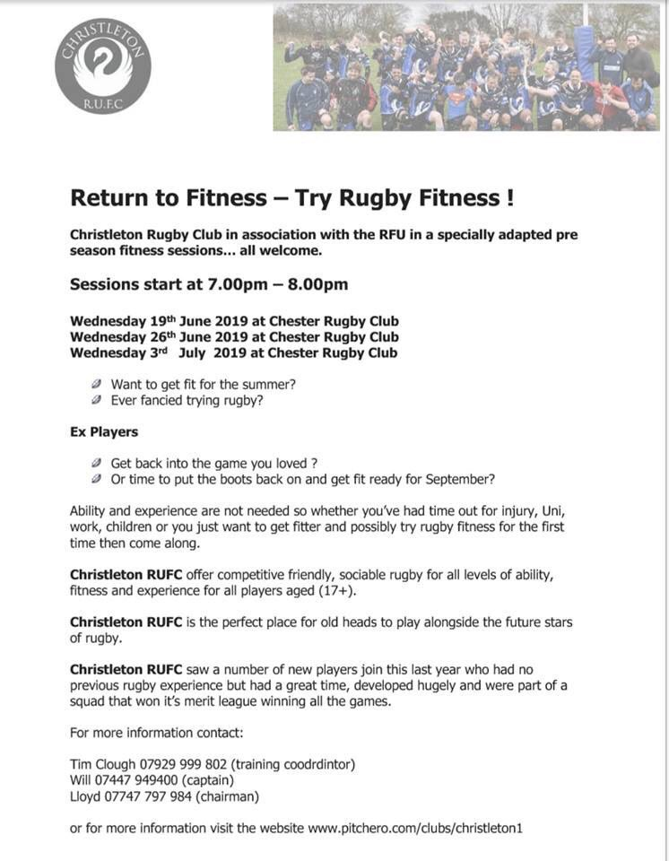 test Twitter Media - Why not join in the 'Return to Rugby' fitness with @christletonrufc & their specialist Pre-season fitness sessions? Tonight @7pm @RUFCChester - no prior experience necessary and everyone is welcome (boots needed on the 3G pitch) #fitnfun #beachbody #skillsnotdrills https://t.co/S2aXrM3D7h