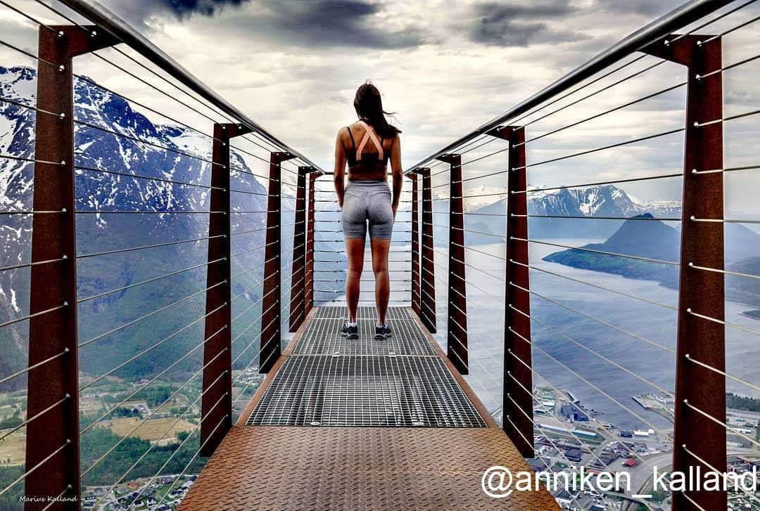 The Rampestreken Viewpoint in Åndalsnes 😊 Photo Anniken Kalland via @fjordnorway bit.ly/rampestreken #norway #travel #fjords #hiking