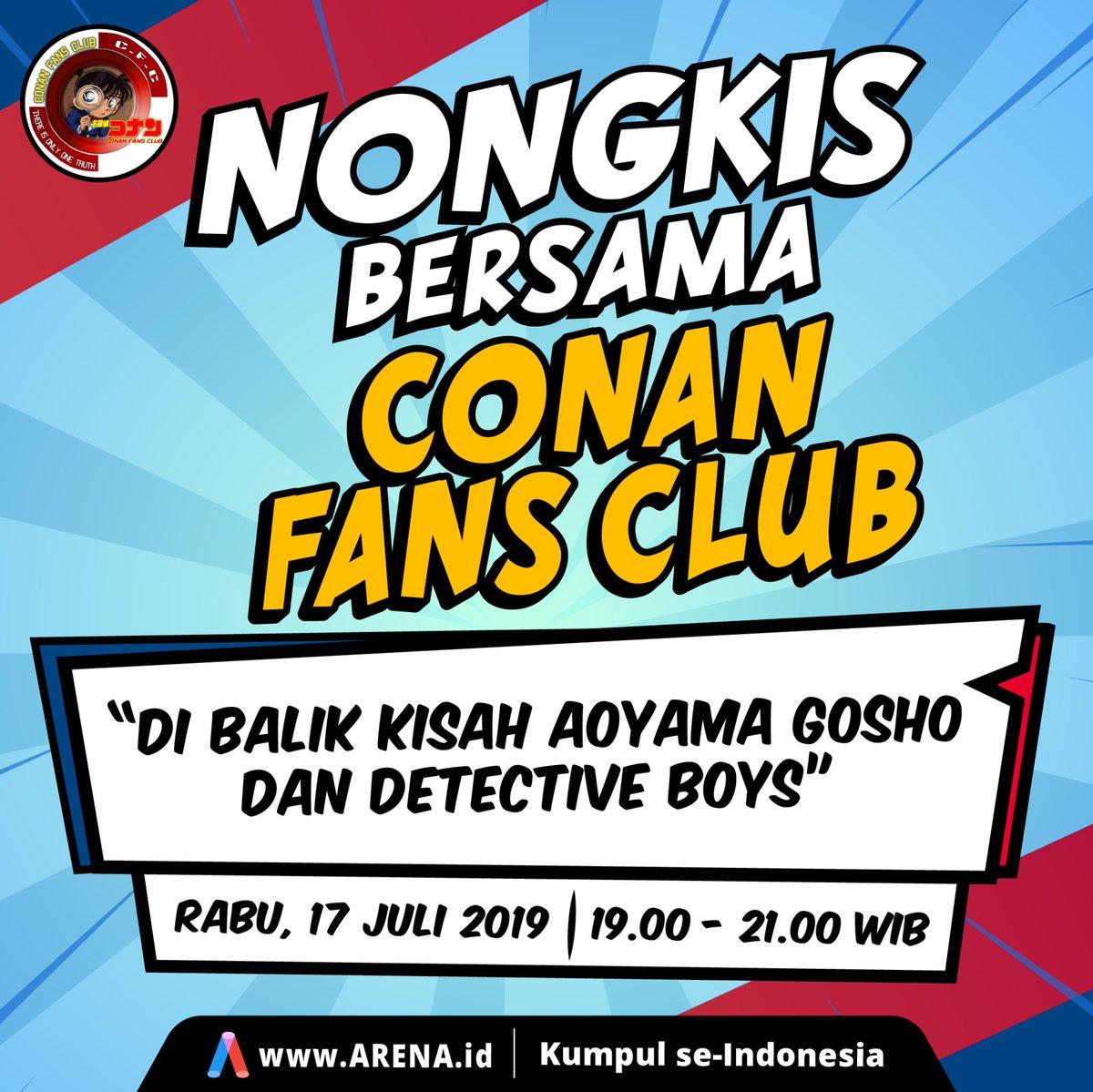 Hai Guys! Buat kalian para pecinta Conan yuk Nongkis bareng sama Conan Fans Club. Saksikan Nongkis bersama CFC setiap Rabu jam 19.00-20.45 hanya di http://Arena.id #conan #detectives #detective_conan #detectiveconanfans #detectiveconananime #detectivestory