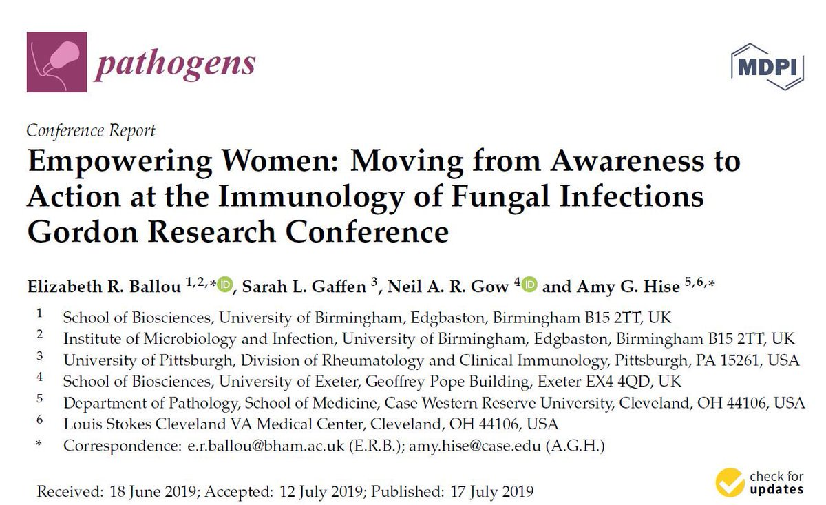 RT @neil_gow: Fascinating analysis of the challenges and solutions to empowering women and underrepresented minority gps at scientific conferences led by Liz Ballou.  Pathogens 2019, 8, 103; doi:10.3390/pathogens8030103  @MRCcmm @HubWTSA @ISHAM2018 @BSMM_Junior @eurconfmedmycol