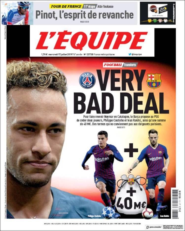 La portada del diario L'Équipe.