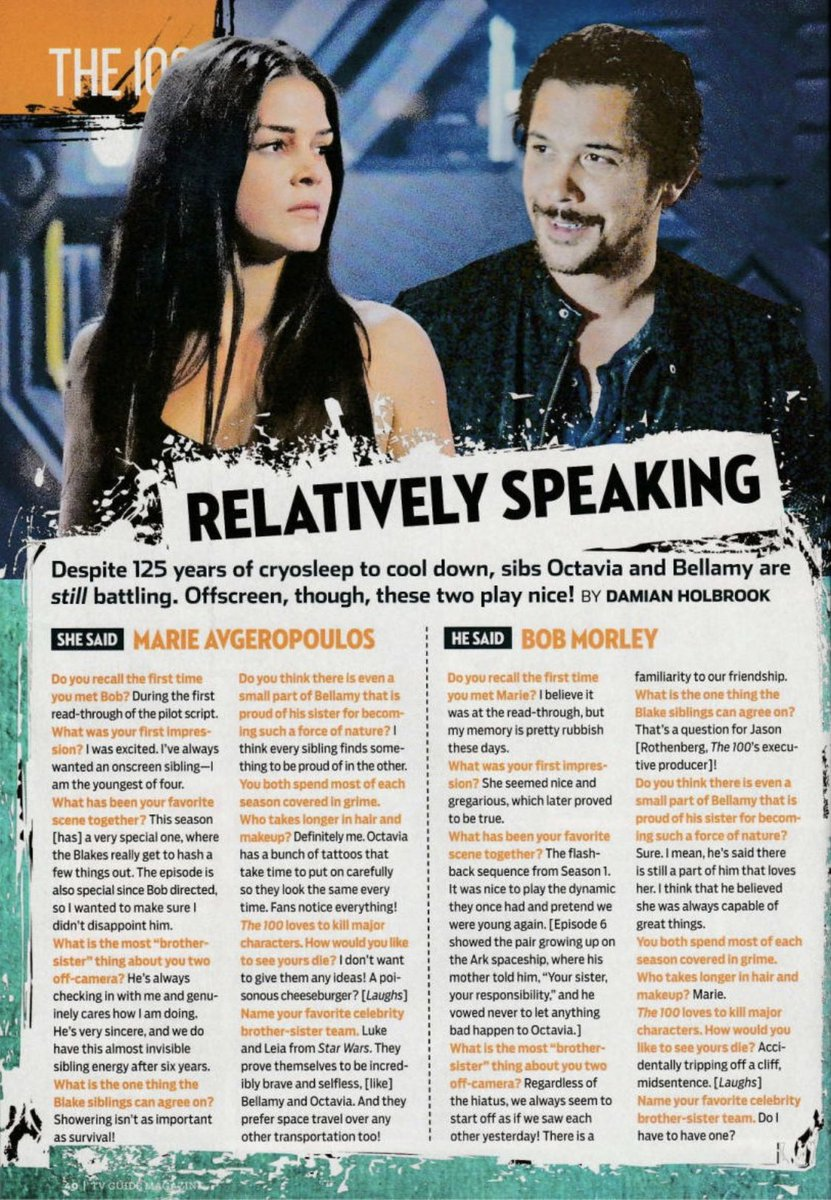 All things #the100 & the #Bellamy and #Octavia he said she said here ! Thanks @TVGuideMagazine @TVGuide #SDCC2019