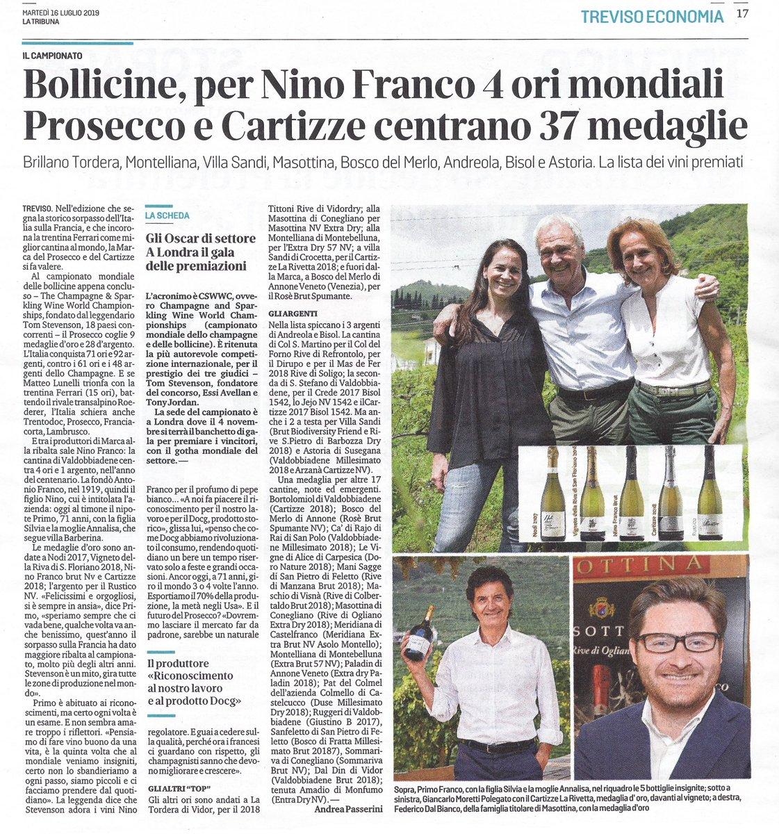 Grazie ad Andrea Passerini e a @tribuna_treviso. È bello che, in questo anno speciale, si raccontino i risultati del nostro lavoro ed del nostro territorio.  https://tribunatreviso.gelocal.it/treviso/cronaca/2019/07/16/news/i-mondiali-delle-bollicine-per-nino-franco-4-ori-prosecco-e-cartizze-centrano-37-medaglie-1.37050136…  #NinoFranco1919 #ProseccoSuperiore #Valdobbiadene #cswwc #cswwc2019 #WineAwards