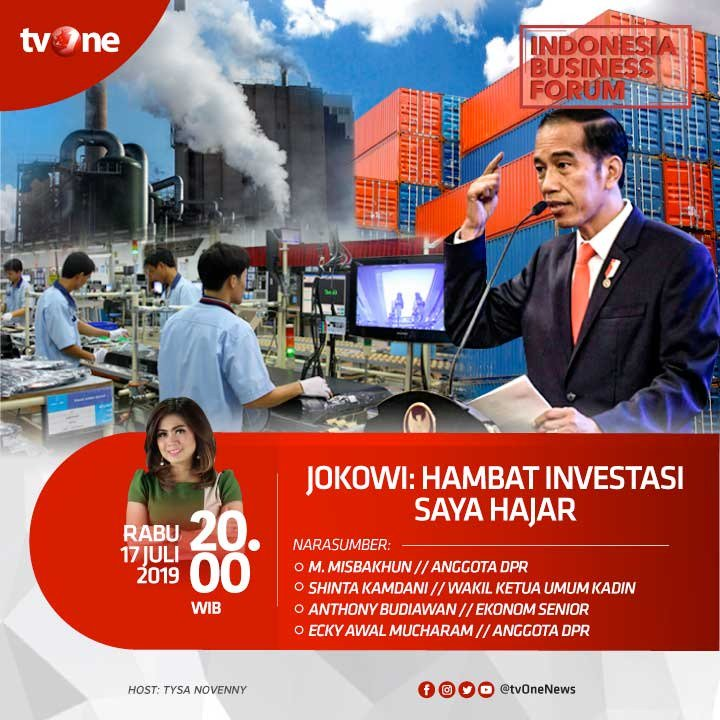 Jokowi berjanji akan menindak tegas siapa saja yang menghambat investasi dalam 5 tahun ke depan. Lalu, seperti apa gebrakan baru Presiden Jokowi untuk mewujudkan hal ini? Saksikan Indonesia Business Forum, malam ini jam 20.00 WIB di tvOne. @karniilyas #IBFtvOne