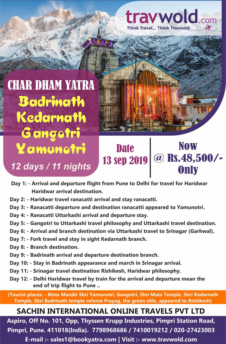 Explore your lifetime experience to Chardham Yatra #Badrinath #Kedarnath #Gangotri #Yamunotri with #sachininternational #Travwold #bookyatra #tourist_place #tourism #vacationdestination #tourpackages #tourlife #fun #follow #instatravel #touring #tours #travelblogger #explore