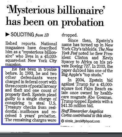 In 1993, #Epstein was busted in a massive US securities fraud op. His partner, Hoffenberg, was sentenced to 20 years. But the gov't cut a deal w/ Epstein & let him plead guilty to conspiring to steal checks from mailboxes & only get 5 yrs probation. Jeff is intelligence 100%.