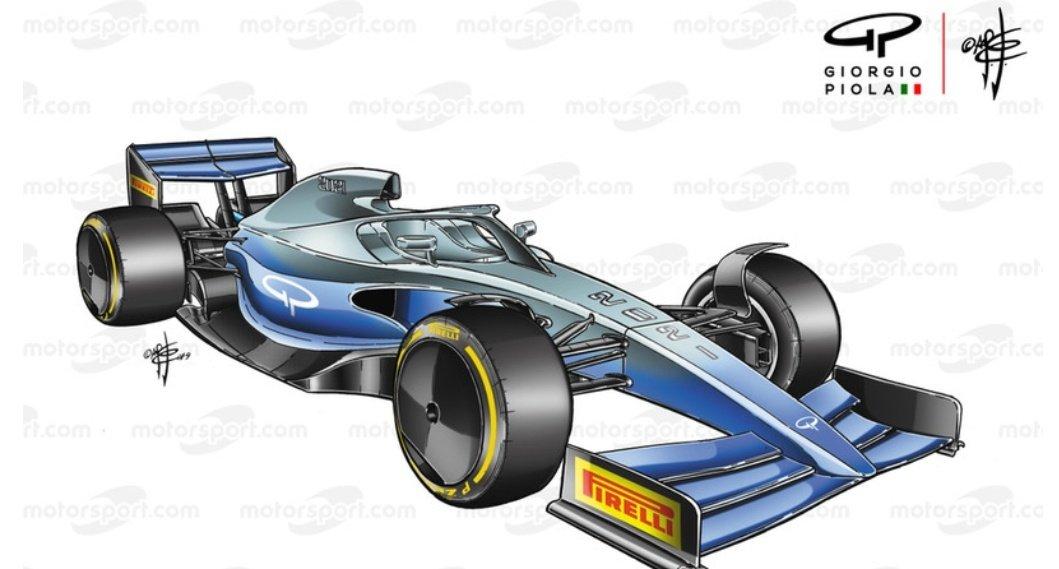 """Así será la nueva F1. -Conceptualemente el coche tendrá más efecto suelo coche para mejorar adelantamientos -Se enfatizará control de flujos detrás coche -Alas más simples -Neumáticos de 18"""" Habra reducción presupuesto que se sitúa en 175 M. 📸 @Motorsport"""
