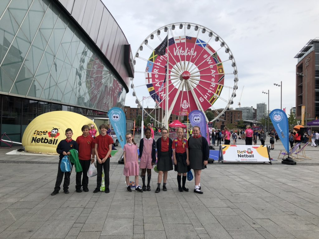 We've made it to the M&S Bank Arena and we have our face paint on ready. So excited to watch the tallest netballer play! 6ft11! @MonksdownSchool #NetballWorldCup2019
