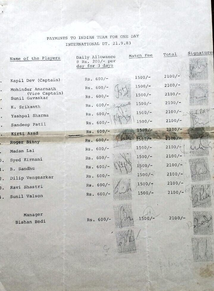 #1983worldcup Indian player's match fees..🇮🇳#soproud..🇮🇳@ICC @BCCI @therealkapildev #1983worldcup #winners #Indians