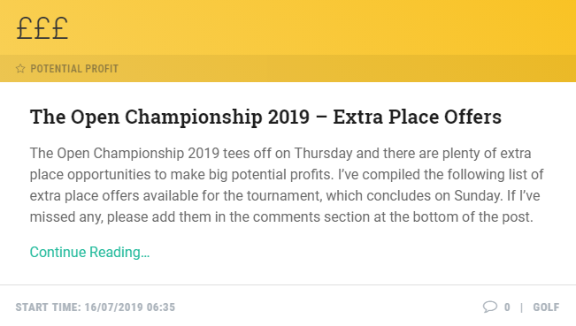 Make BIG potential profits on the #OpenChampionship with these extra place offers! #TheOpen  FULL LIST: https://mb.tips/Open2019Extras
