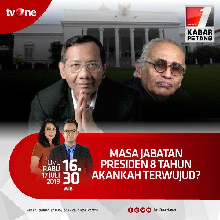 Masa jabatan Presiden 8 tahun akankah terwujud?Nantikan Kabar Petang bersama Seera & Bayu jam 16.30 WIB hanya di tvOne & streaming di tvOne connect, android http://bit.ly/2CMmL5z  & ios http://apple.co/2Q00Mfc.#KabarPetangtvOne