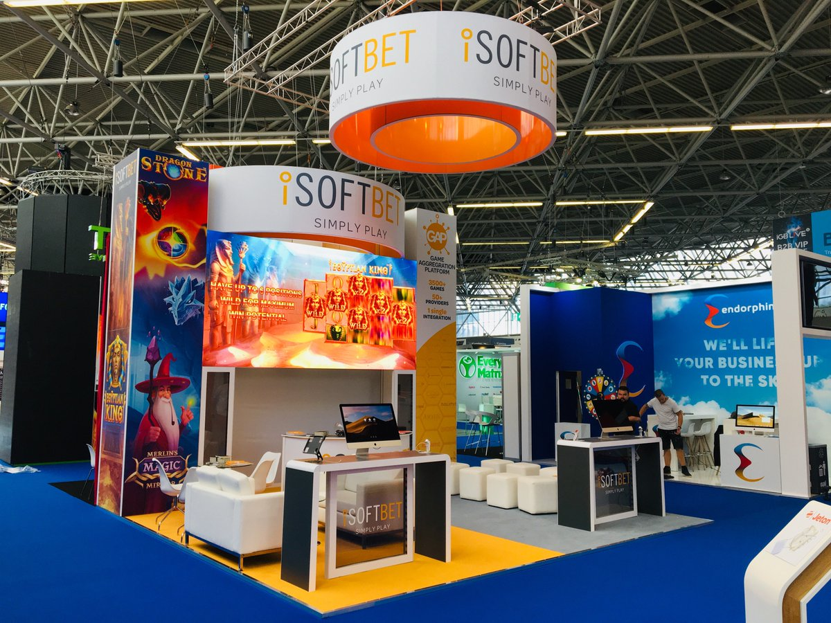 A sight for sore eyes! Bold graphics for @iSoftBet stand, kicking off @iGBAffiliate show with a bang! #igblive2019 #eventprofs <br>http://pic.twitter.com/4Vahx8C9sH