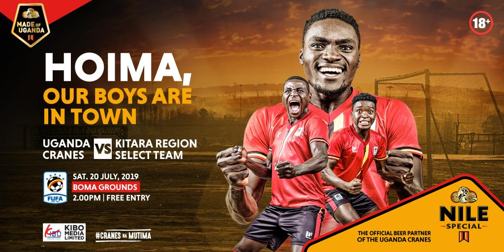 The @UgandaCranes team will be in Hoima this weekend for a friendly match with a select side from Kitara Region. Hoima tweeps, are you ready to hang around with your favourite #AFCON19 players? #NSFootball #MadeOfUganda #CranesNaMutiima <br>http://pic.twitter.com/7ajASK4U6F