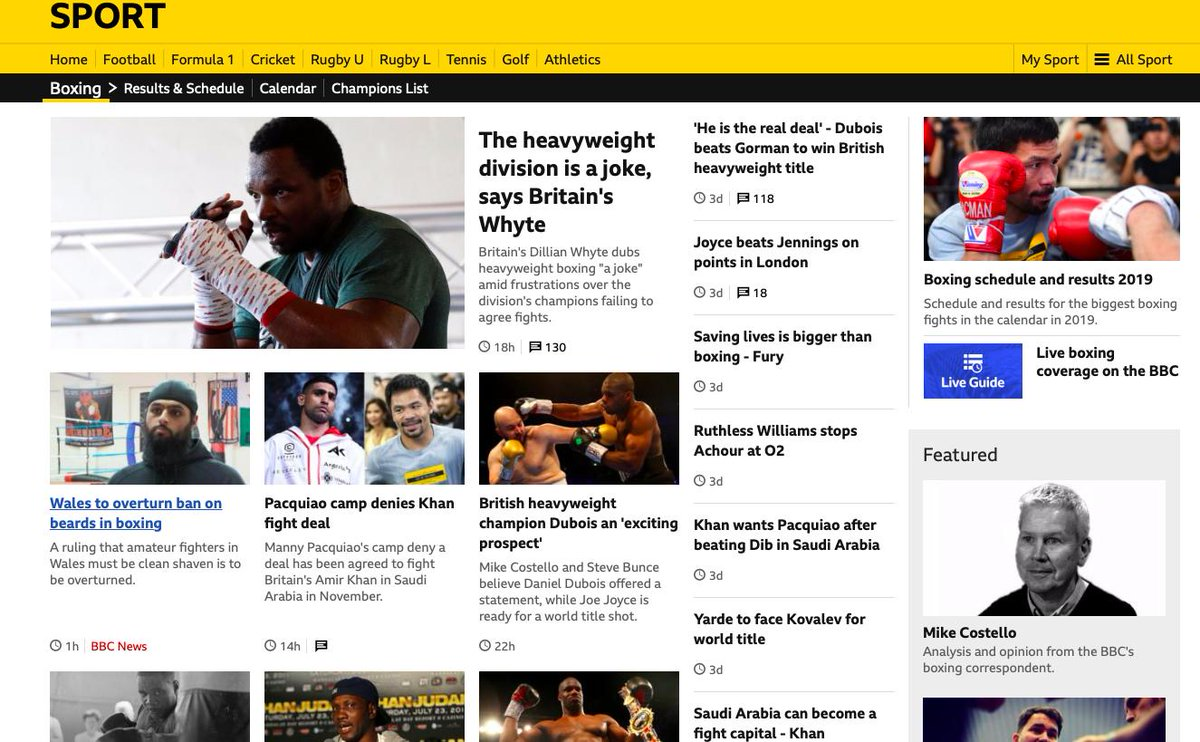 """Plenty on BBC Sport boxing page: @DillianWhyte says heavyweights are """"a joke"""", Khan and Pacquiao is on but not on, @bigdaddybunce thinks Dubois can be special, a feature on Liston's murder, beards in Wales, an amazing pod and more by Friday.https://www.bbc.co.uk/sport/boxing #bbcboxing"""
