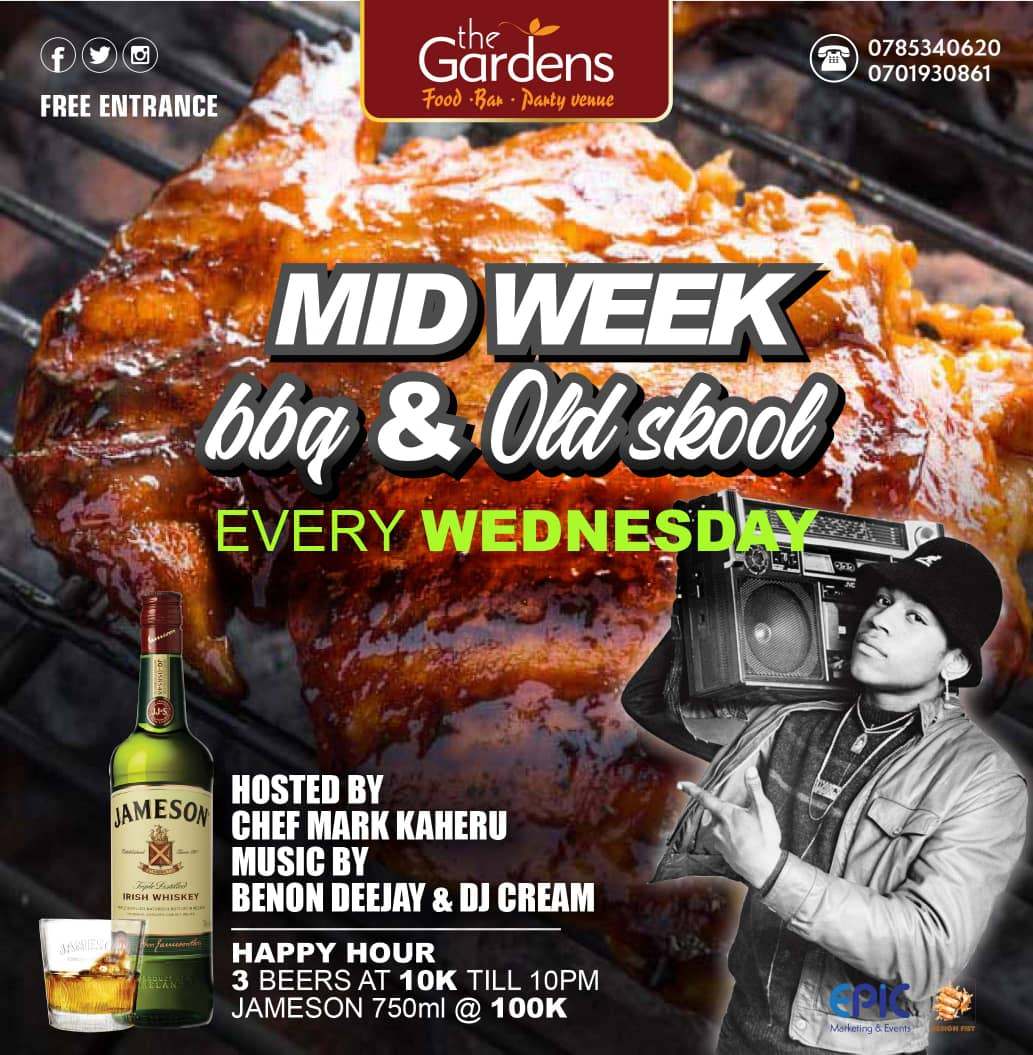 Feel free to strike a break in the middle of the week by dropping in for some fine barbecue prepared by the one and only @Metusera with Old Skool music to go with it by @benon_dj. All beer is discounted up to 10pm! Powered by @97fmRadiocity and @liquidtelecom.