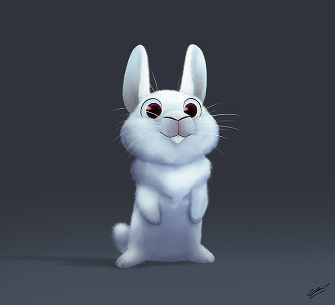 White little bunny testing some new brushes Croquis+Cintiq+Photoshop