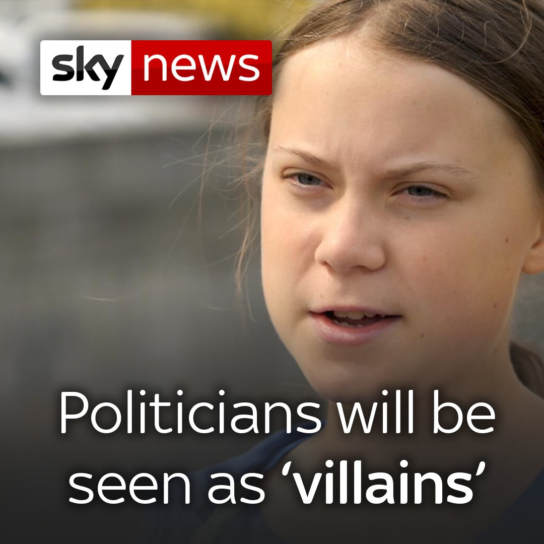 """Teen climate activist @GretaThunberg says politicians will be viewed as """"some of the greatest villains in human history"""" if they don't act now on climate change.   Here's her full interview with Sky's climate change correspondent @hannahtpsky: http://po.st/rjvVDl"""