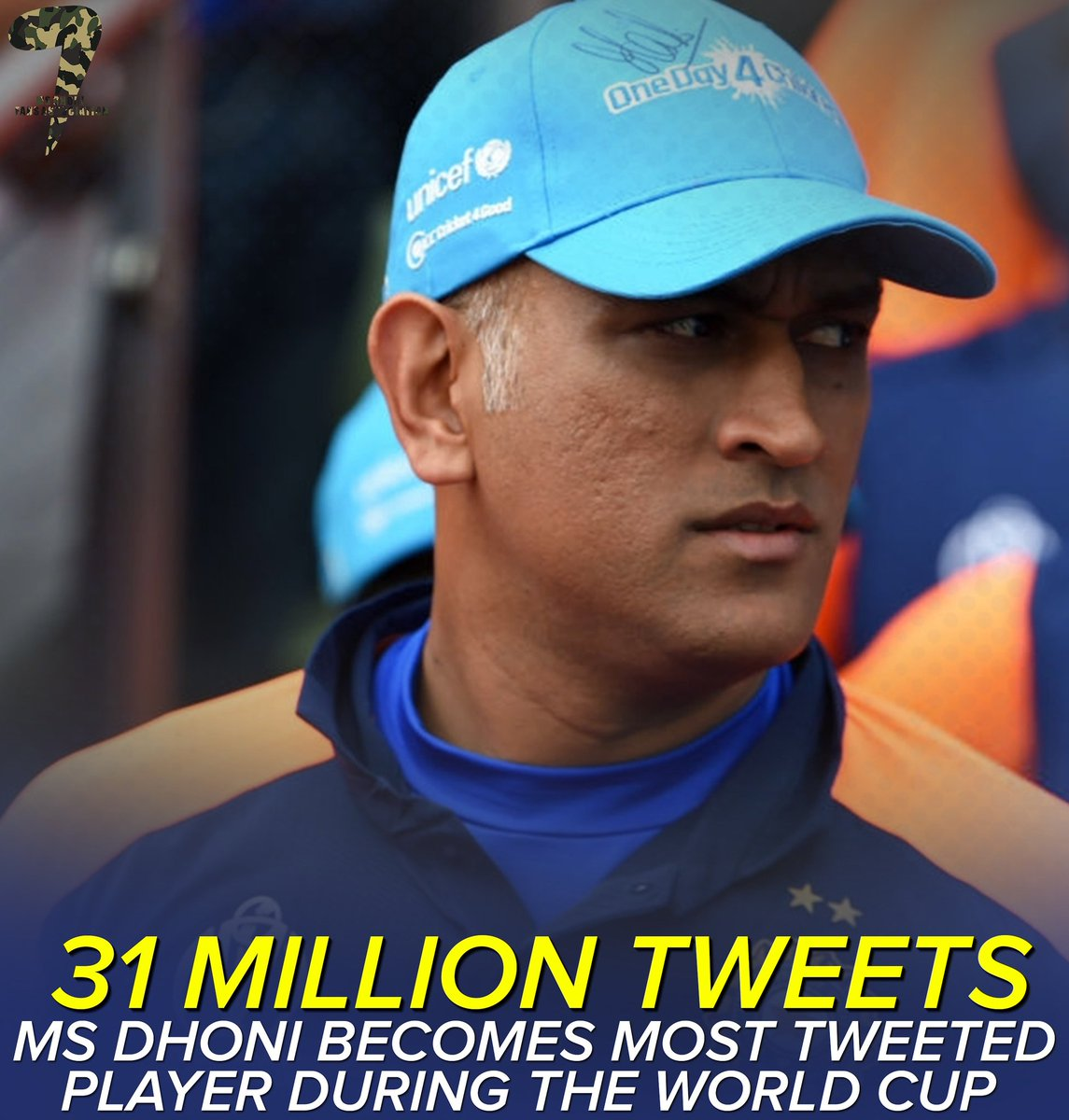 .@msdhoni is not just a name, but an Emotion  Most tweeted player during CWC19 with over 31 million tweets!  PS, He is the most inactive cricketer on social media.  #DhoniAtCWC19 #MSDhoni #Dhoni<br>http://pic.twitter.com/vjcwvPS1xw