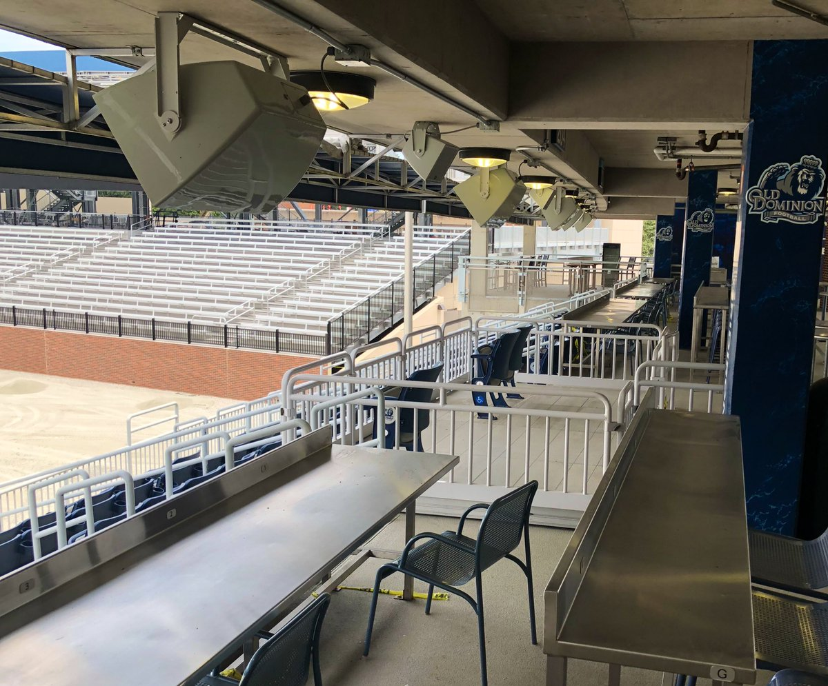New  speakers  in the PNC Gridiron Club! A BIG TIME upgrade for the 2019 season!  You may need to bring your earplugs for all the touchdown celebrations this year! @OldDominionAF<br>http://pic.twitter.com/2J7sbpHvmZ – à Kornblau Field at S.B. Ballard Stadium